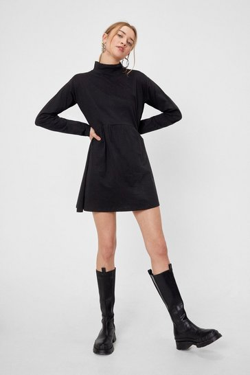Black Prove Hem Wrong High Neck Mini Dress