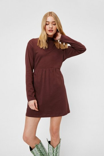 Chocolate High Neck Long Sleeve Mini Dress