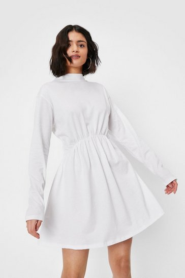 Ecru High Neck Long Sleeve Mini Dress
