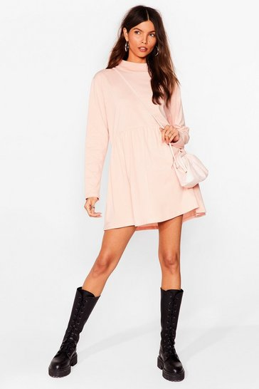 White Casual Long Sleeve Mini Skater Dress