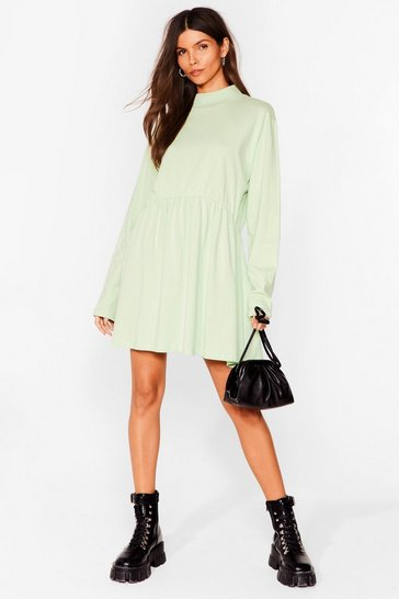 Sage Smock Got Time High Neck Mini Dress