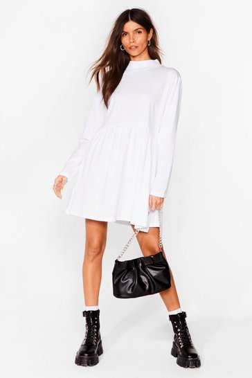 White Smock Got Time High Neck Mini Dress
