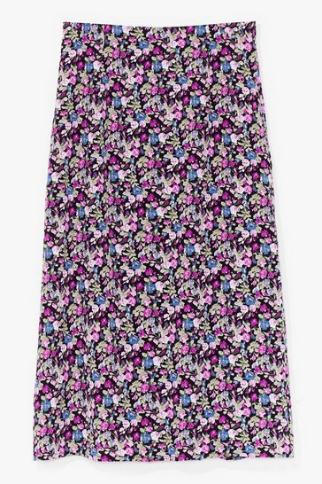 Purple What Bud You Do Floral Midi Skirt