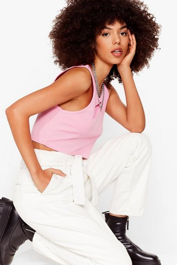 Pink Come Up Short Cropped Vest Top