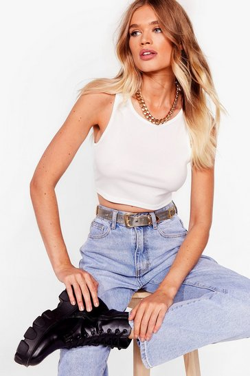 White Come Up Short Cropped Vest Top