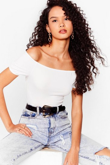White Back Off-the-Shoulder Crop Top