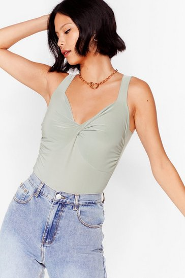 Sage Add It to the Twist V-Neck High-Leg Bodysuit