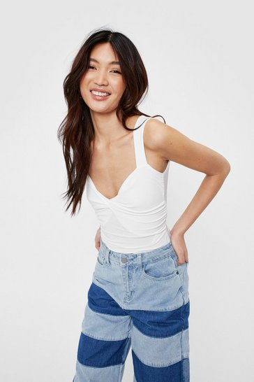 White Add It to the Twist V-Neck High-Leg Bodysuit