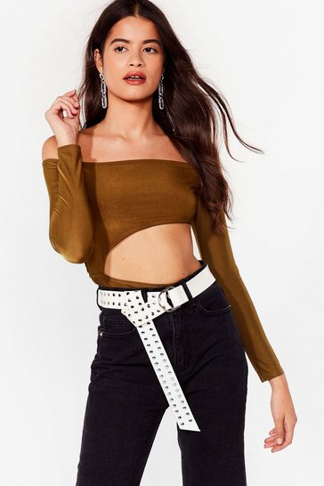 Olive How Bare You Off-the-Shoulder Bodysuit