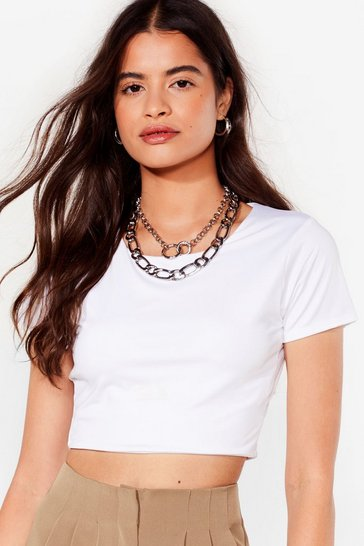 White Let Me Slink About It Crew Neck Crop Top