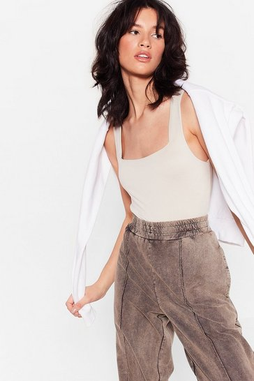 Stone You're Almost Square Slinky High-Leg Bodysuit