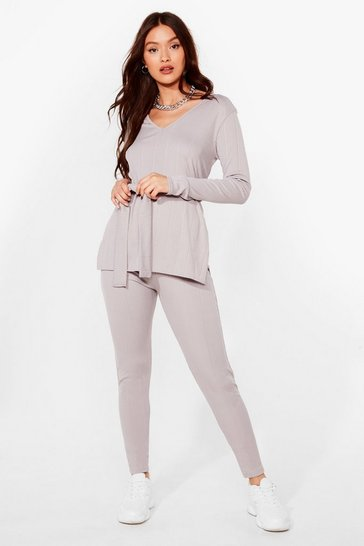 Grey Nice Tie Ribbed Top and Legging Set