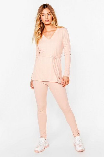 Nude Nice Tie Ribbed Top and Legging Set