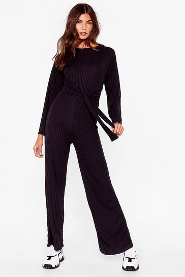 Black Ribs Down to You Belted Jumpsuit