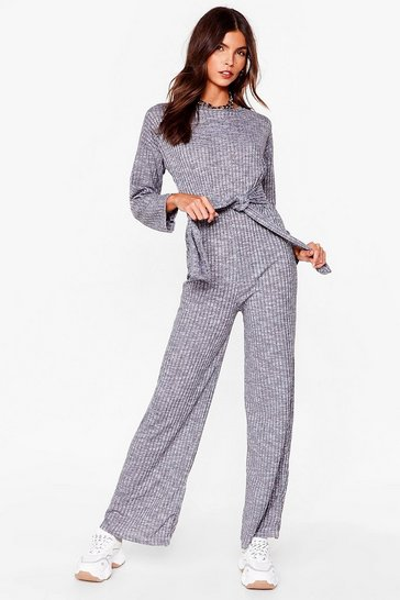 Grey Ribs Down to You Belted Jumpsuit