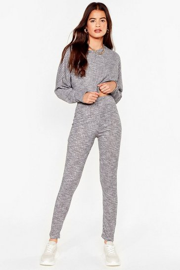 Grey Let Rib Be Cropped Sweater and Leggings Set