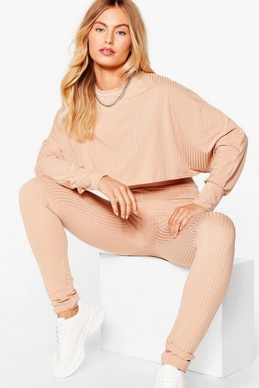 Stone Let Rib Be Cropped Jumper and Leggings Set