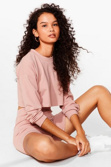 Blush Sweat It Right Sweatshirt and Biker Short Set