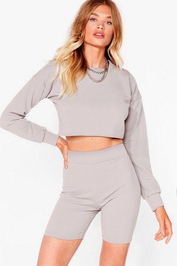 Grey Sweat It Right Sweatshirt and Biker Short Set
