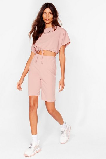 Ensemble de confort t-shirt & short mi-long, Rose