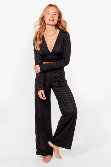 Black Time to Chill Ribbed Wide-Leg Lounge Set