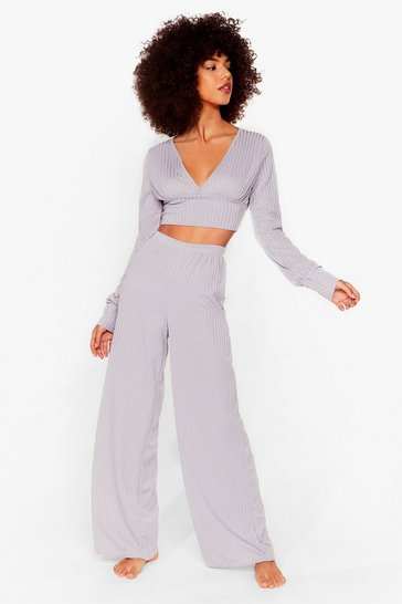 Grey Time to Chill Ribbed Wide-Leg Lounge Set