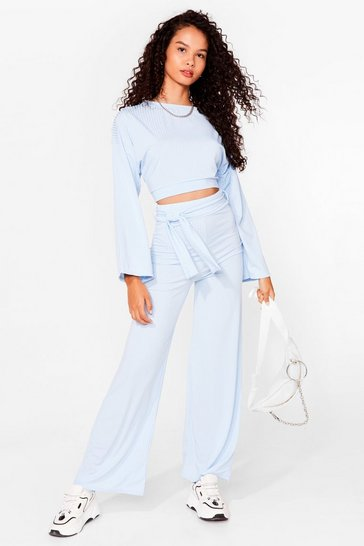 Blue Running Out of Tie Ribbed Wide-Leg Trousers Set