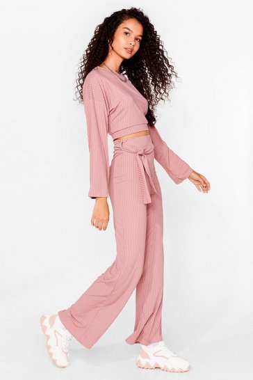 Ensemble côtelé crop top & pantalon large ceinturé, Rose