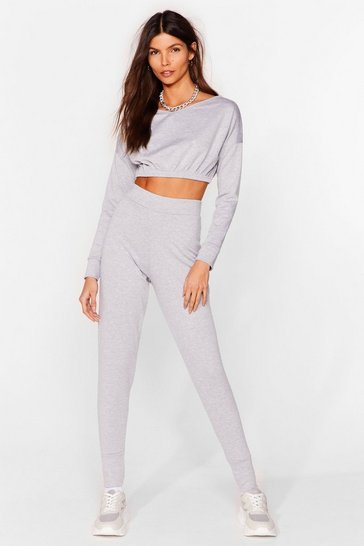 Grey Keep It Chill Cropped Sweatshirt and Jogger Set