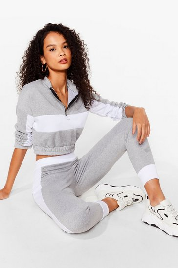 Grey Colourblock Crop Sweat and Jogger