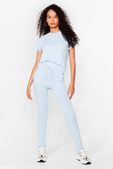 Blue On Rib-peat Tee and Joggers Set