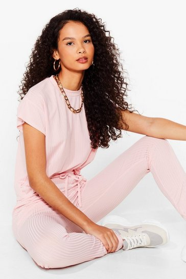 Pink On Rib-peat Tee and Joggers Set