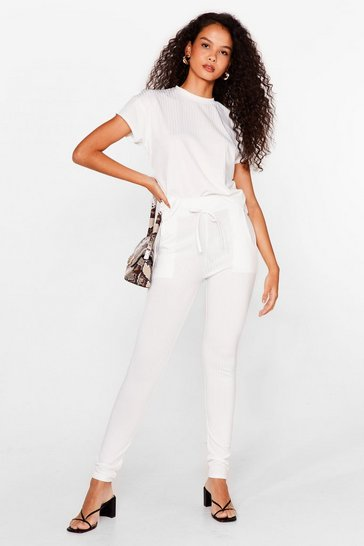 Ensemble t-shirt & pantalon skinny côtelés, White