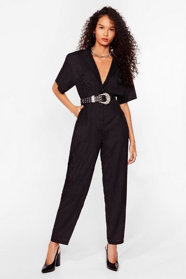 Black Polka Dot V Neck Taiored Jumpsuit