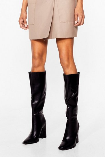 Black Sleek Heeled Knee High Boots