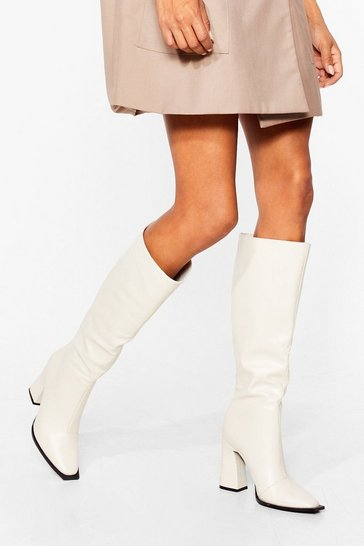 Off white PU KNEE HIGH SQUARE TOE FLARE HEEL BOOTS