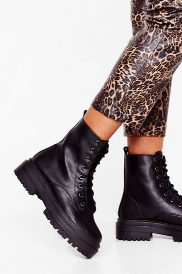 Black Hike It Like That Faux Leather Lace-Up Boots