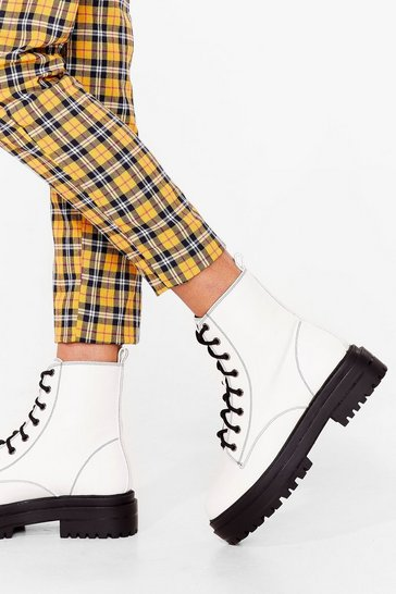 White Hike It Like That Faux Leather Lace-Up Boots