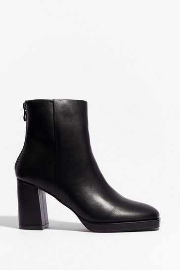 Black Faux Leather Say Faux Leather Heeled Ankle Boots