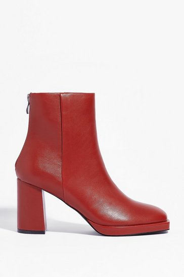 Cognac Faux Leather Block Heel Ankle Boots