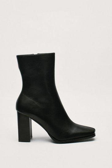 Bottines en similicuir à talon haut carré, Black