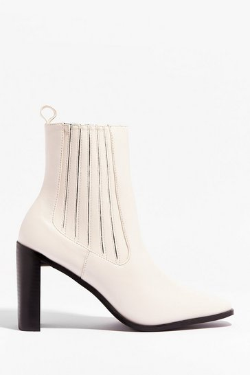 Off white Toe Looking Back Faux Leather Heeled Boots