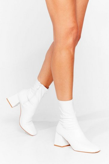 White Faux Leather Chunky Heel Sock Boots