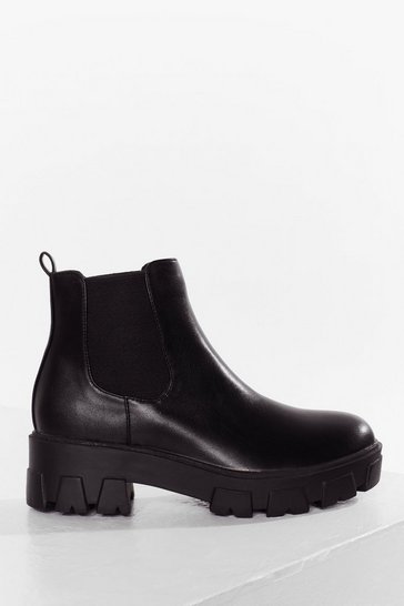 Black Step Up Your Game Cleated Chelsea Boots