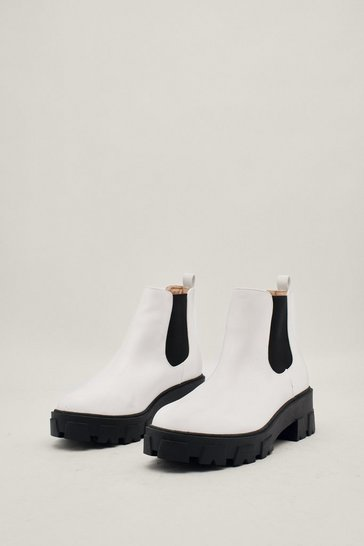 White Cleated Faux Leather Chelsea Boots