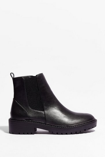 Black Walk That Walk Faux Leather Chelsea Boots