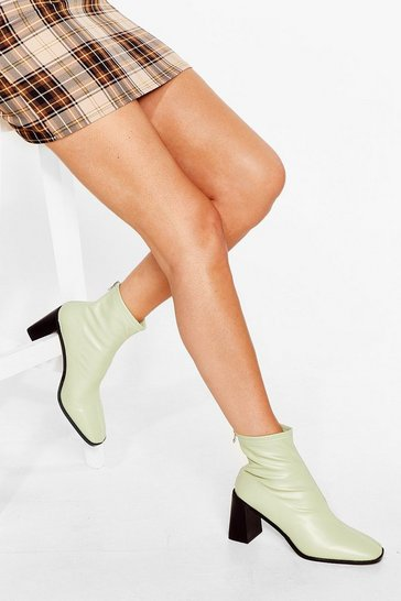 Mint Meet You Flare Block Heel Ankle Boots