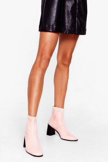 Pink Meet You Flare Block Heel Ankle Boots
