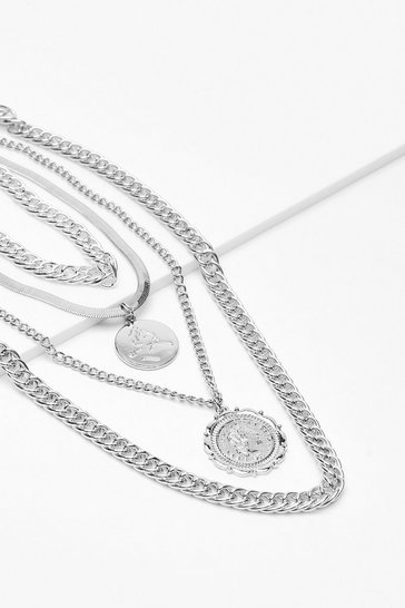 Silver Common Cents Layered Chain Necklace