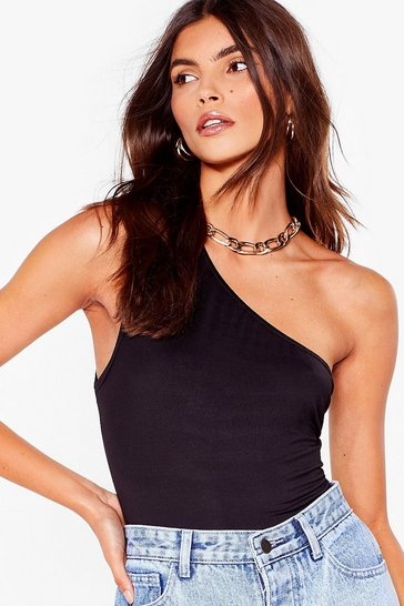 Black One Shoulder 'Em Who's Boss High-Leg Bodysuit